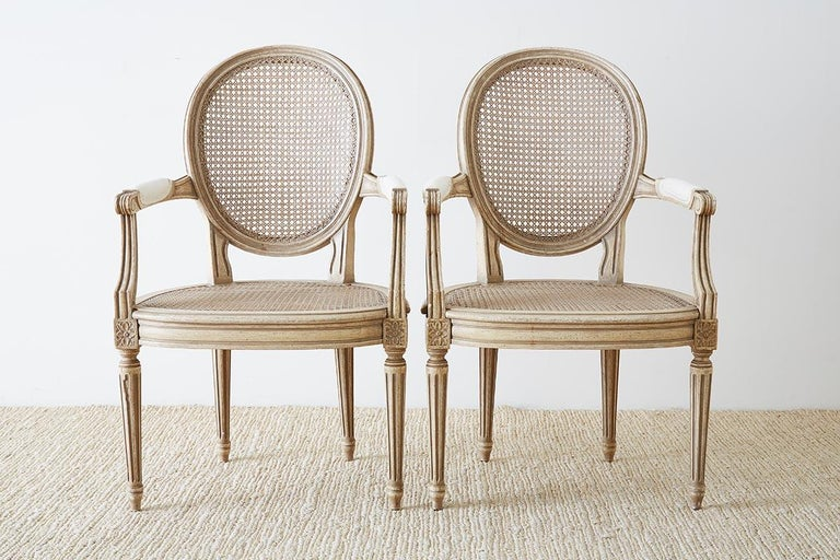 Set of Four Louis XVI Gustavian Style Dining Chairs In Good Condition For Sale In Oakland, CA