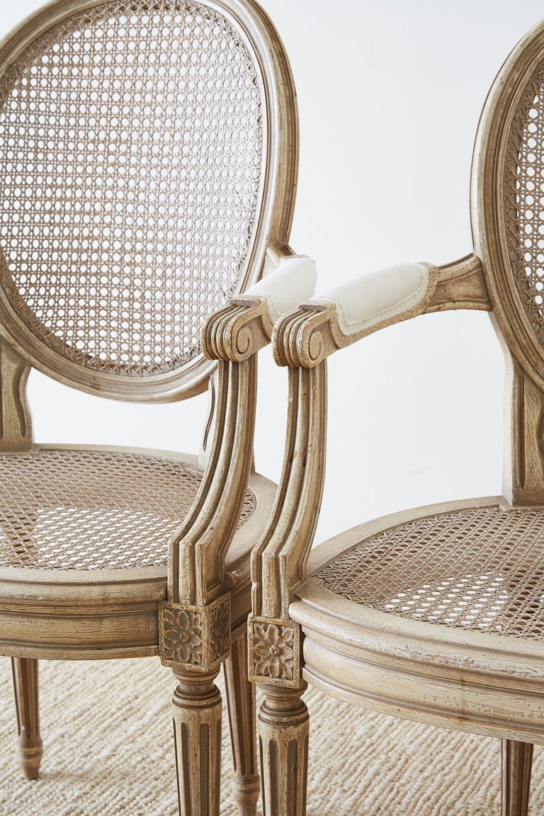 Wood Set of Four Louis XVI Gustavian Style Dining Chairs For Sale