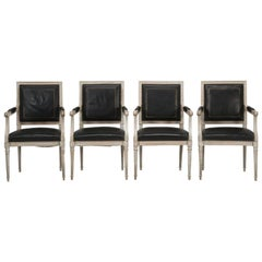 Set of Four Louis XVI Style Armchairs in Original Paint and Black Leather