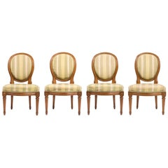 Set of Four Louis XVI Style Chairs with Striped Silk Upholstery, 19th Century