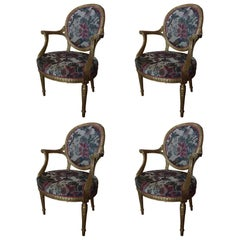 Set of Four Louis XVI Style Gilded Armchairs and Reeded Legs, 20th Century