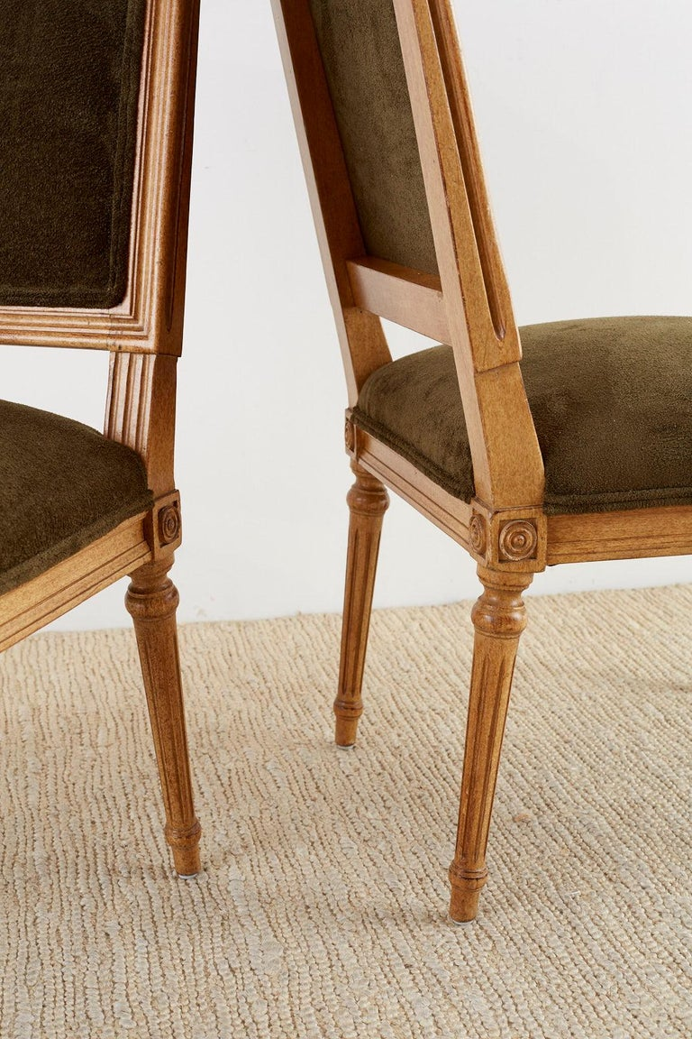 Set of Four Louis XVI Style Green Velvet Dining Chairs For Sale 5