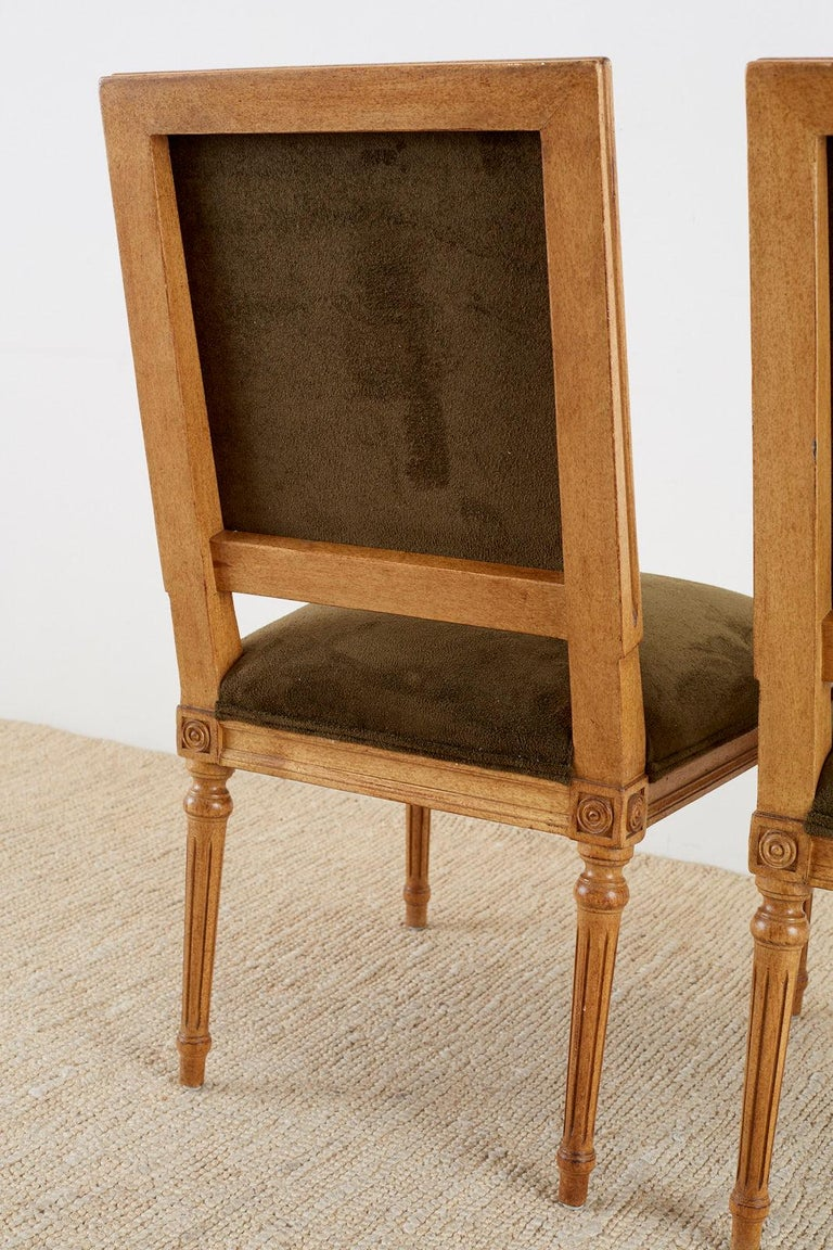 Set of Four Louis XVI Style Green Velvet Dining Chairs For Sale 9