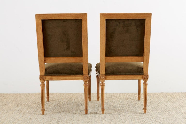 Set of Four Louis XVI Style Green Velvet Dining Chairs For Sale 12