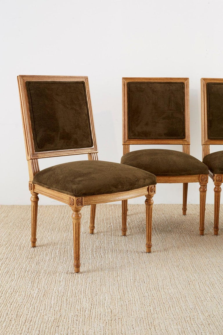 American Set of Four Louis XVI Style Green Velvet Dining Chairs For Sale
