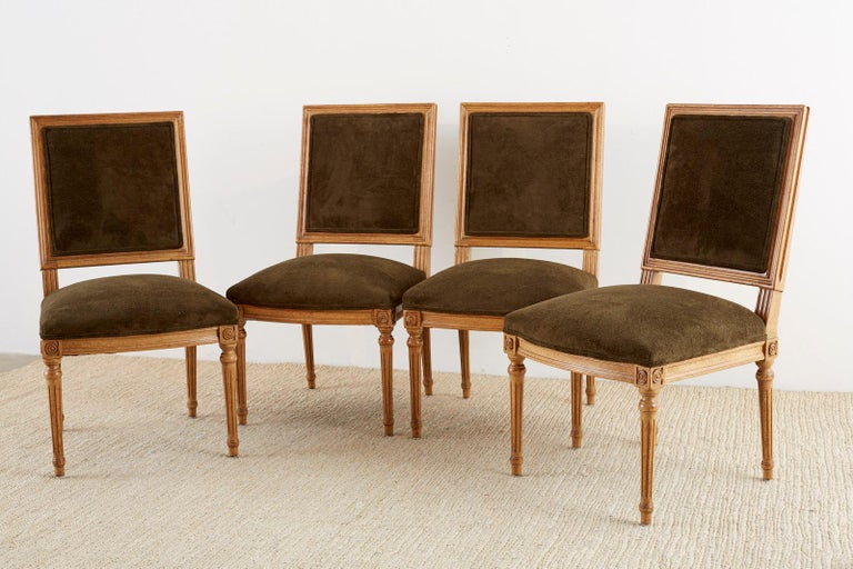 Hand-Crafted Set of Four Louis XVI Style Green Velvet Dining Chairs For Sale
