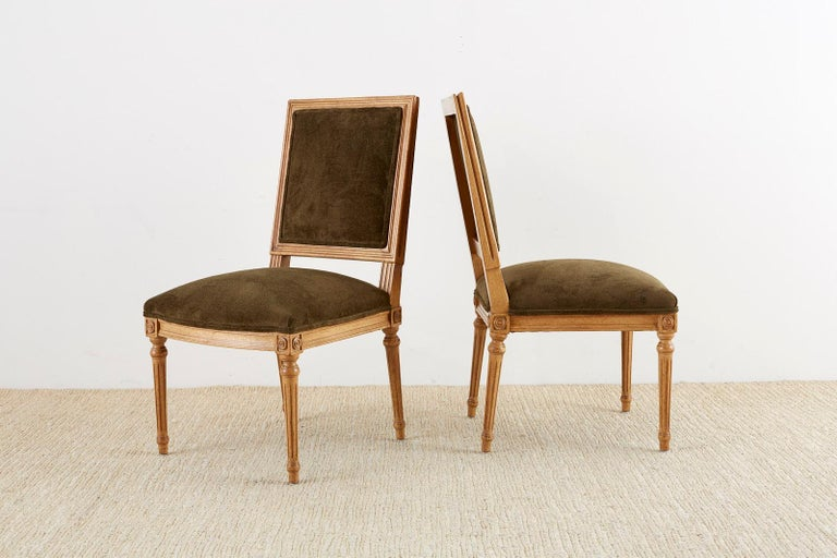 Set of Four Louis XVI Style Green Velvet Dining Chairs In Good Condition For Sale In Oakland, CA