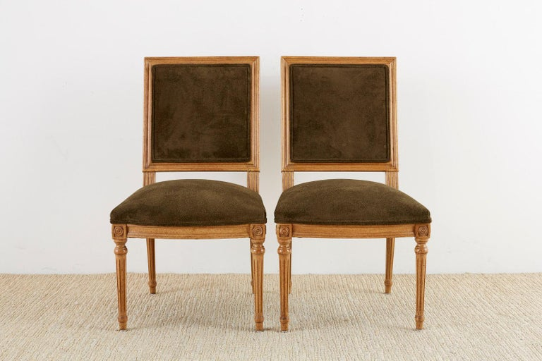 20th Century Set of Four Louis XVI Style Green Velvet Dining Chairs For Sale