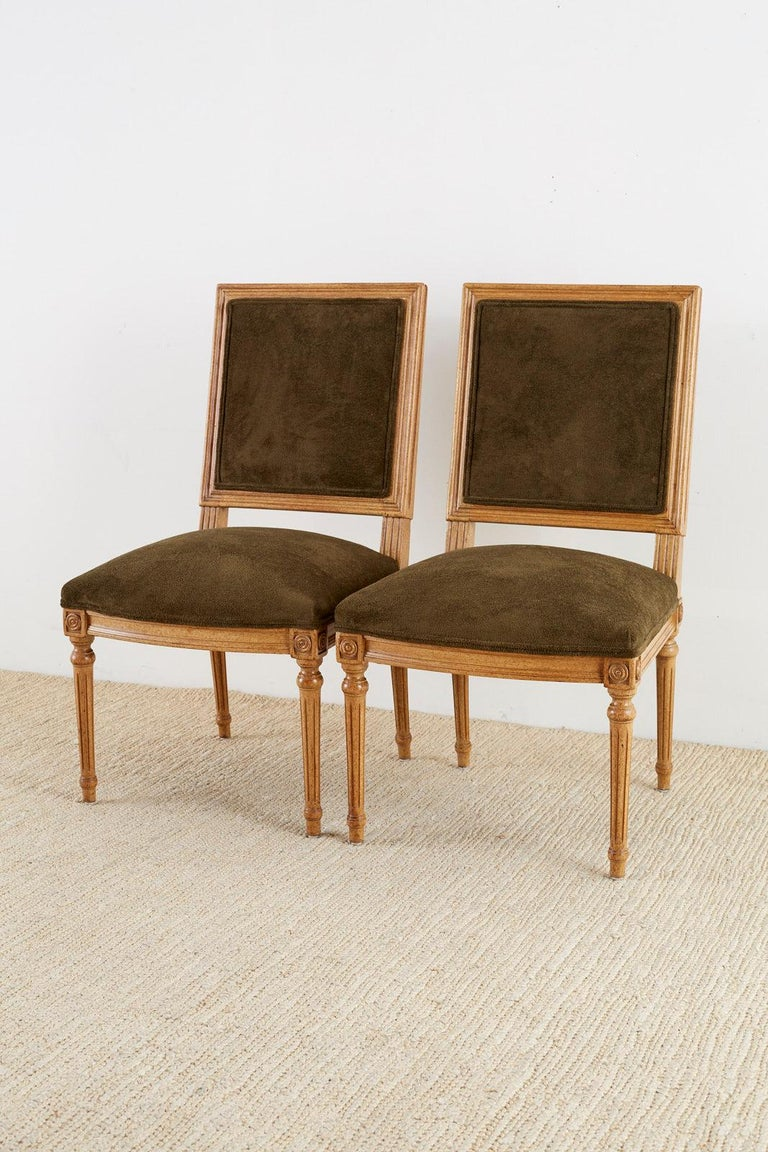 Set of Four Louis XVI Style Green Velvet Dining Chairs For Sale 1