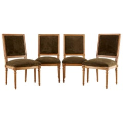 Set of Four Louis XVI Style Green Velvet Dining Chairs