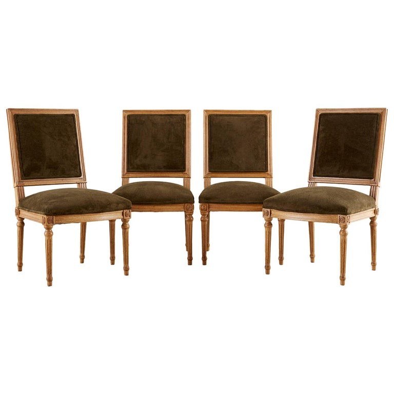 Set of Four Louis XVI Style Green Velvet Dining Chairs For Sale