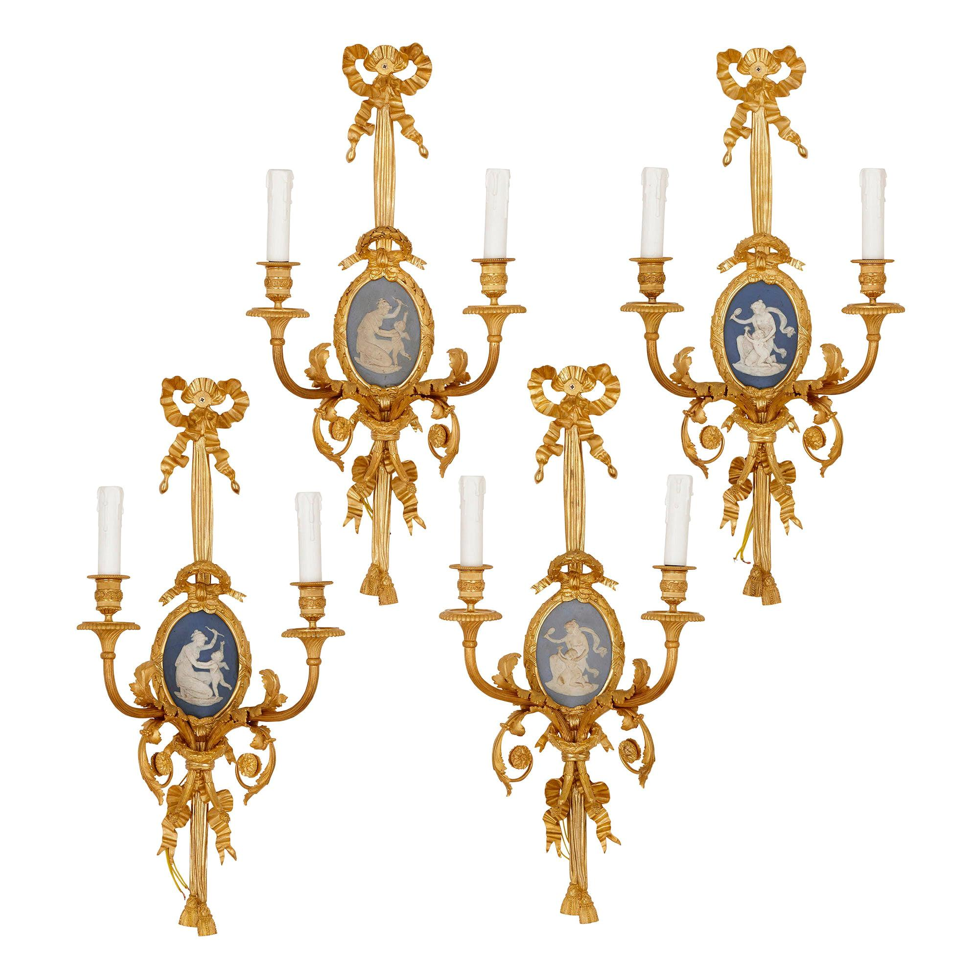 Set of Four Louis XVI Style Jasperware and Gilt Bronze Wall Sconces