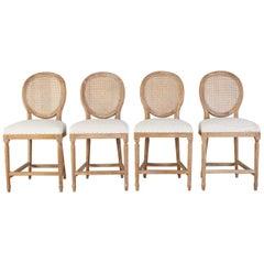 Set of Four Louis XVI Style Oak Cane Counter Bar Stools