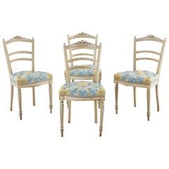 Set of Four Louis XVI Style Painted Dining Chairs