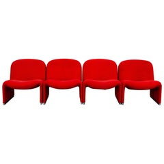 Set of Four Lounge Chairs Designed by Giancarlo Piretti for Castelli, 1970s