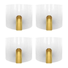 Set of four Lucite and Brass Wall Sconces by Metalarte, 1980s