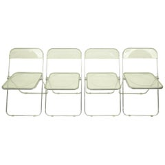 Set of Four Lucite Plia Chairs by Giancarlo Piretti for Castelli