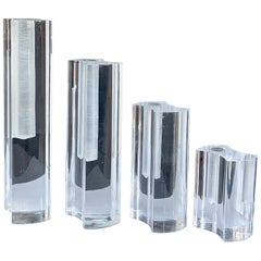 Set of Four Lucite Vases by Guzzini, Italy, 1970s Mid-Century Modern