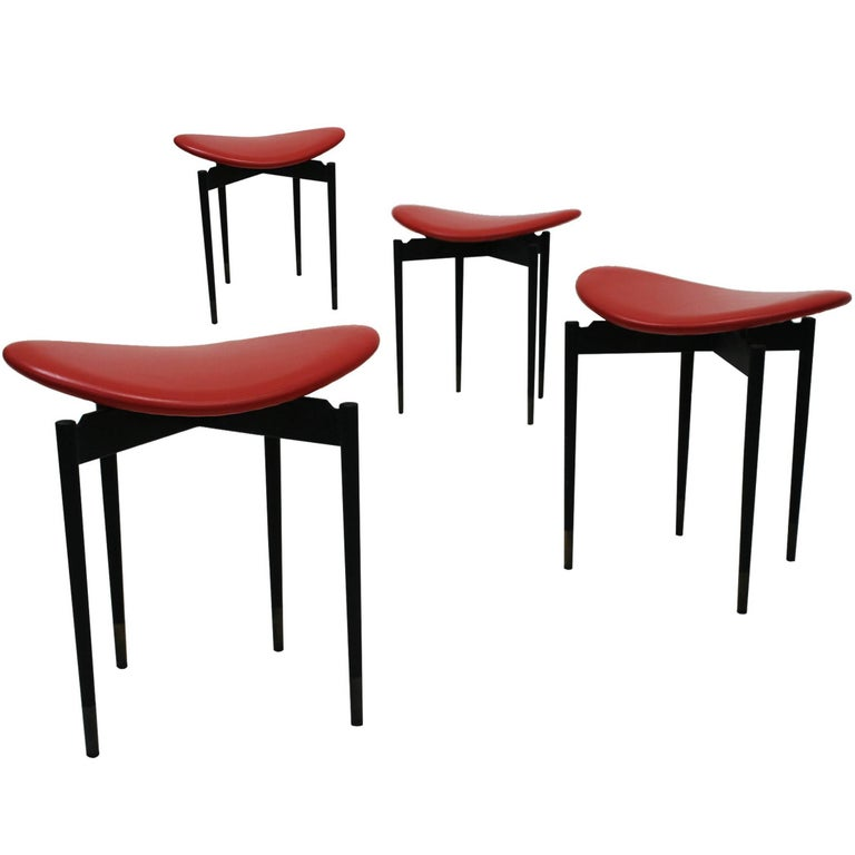 "Set of Four ""Lutrario"" Stools Designed by Carlo Mollino, Italy, 1959 For Sale"