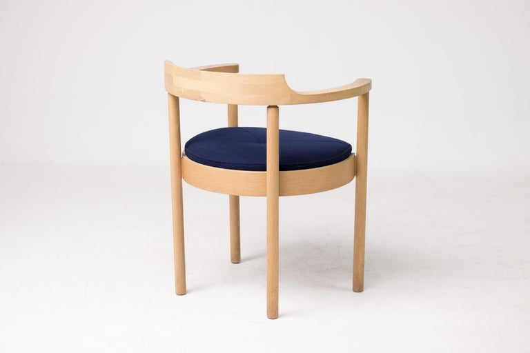 Gorgeous dining chairs designed in 1968 by Henning Jensen & Torben Valeur for Munch Mübler.  Light oak frames and blue wool seats in great vintage condition. Marked.