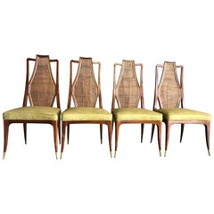 Set of Four Mahogany and Cane Dining Chairs