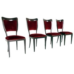 Set of Four Mahogany and Crimson Velvet Chairs by Paolo Buffa, Italy, 1950s