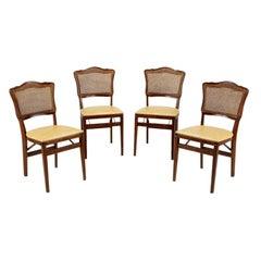 Set  Of Four Mahogany, Cane & Leather Regency Folding Chairs
