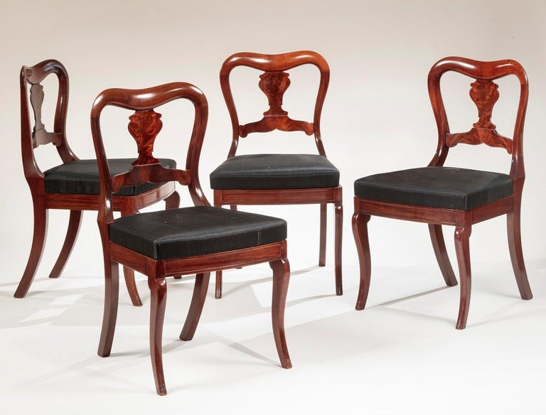 Restauration Set of Four Mahogany Dining Chairs For Sale