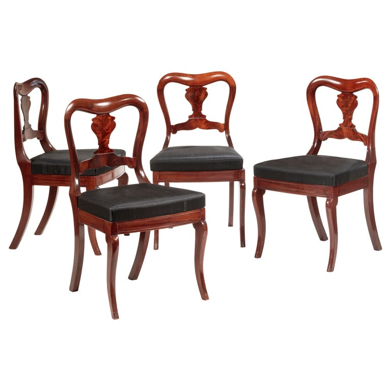 Set of Four Mahogany Dining Chairs For Sale