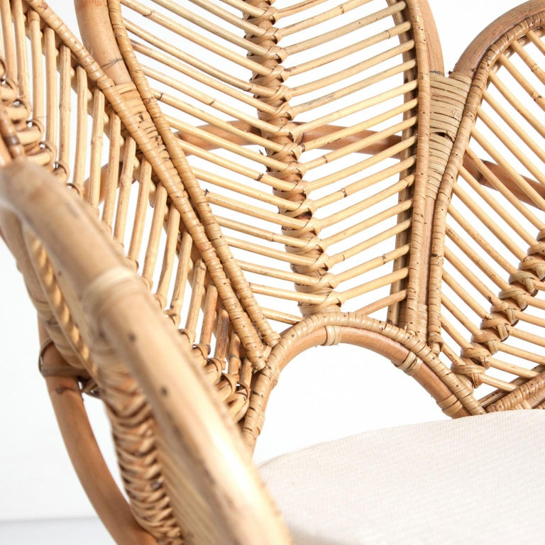 Mid-Century Modern Set of Four Mahogany Wood and Rattan Flower Armchairs For Sale