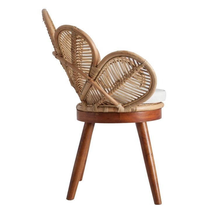 European Set of Four Mahogany Wood and Rattan Flower Armchairs For Sale
