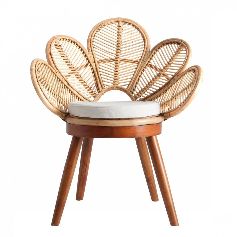 Contemporary Set of Four Mahogany Wood and Rattan Flower Armchairs For Sale