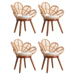 Set of Four Mahogany Wood and Rattan Flower Armchairs