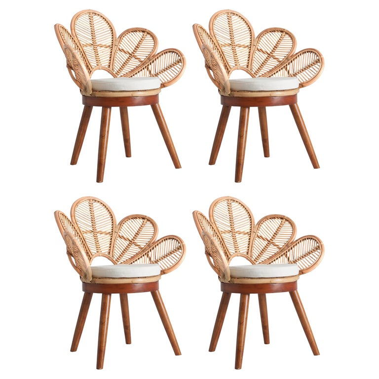 Set of Four Mahogany Wood and Rattan Flower Armchairs For Sale