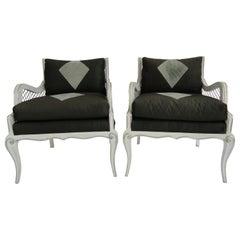 Set of Four Maison Jansen Harlequin Armchairs