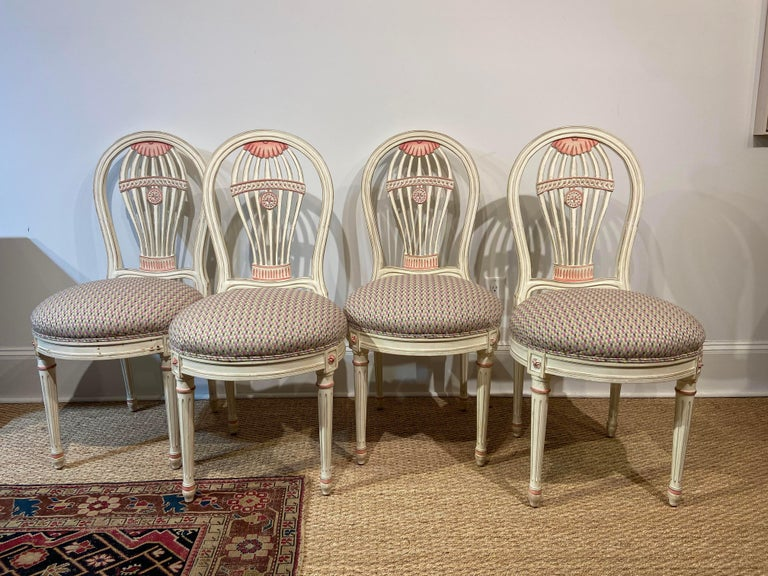 This is a fine set of Maison Jansen style dining/side chairs in their original painted finish, circa 1950s. The chairs are in great condition and ready to be used.