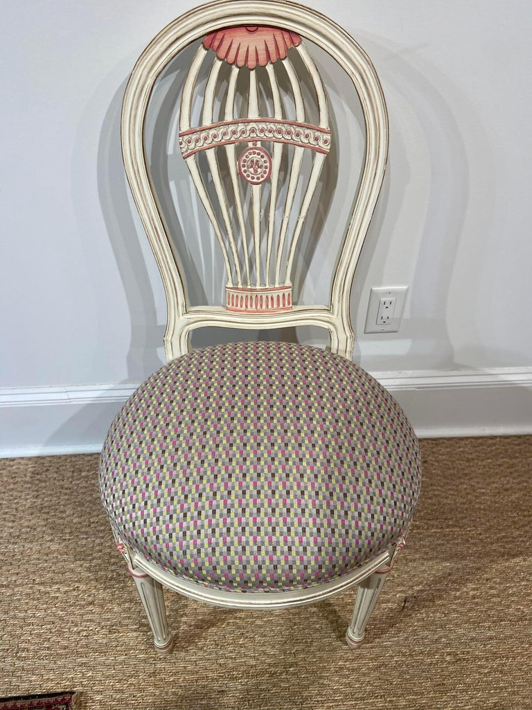 Neoclassical Set of Four Maison Jansen Style Balloon Back Chairs For Sale