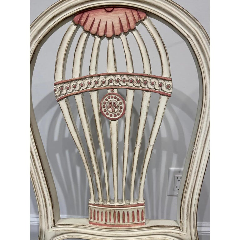 Hand-Painted Set of Four Maison Jansen Style Balloon Back Chairs For Sale