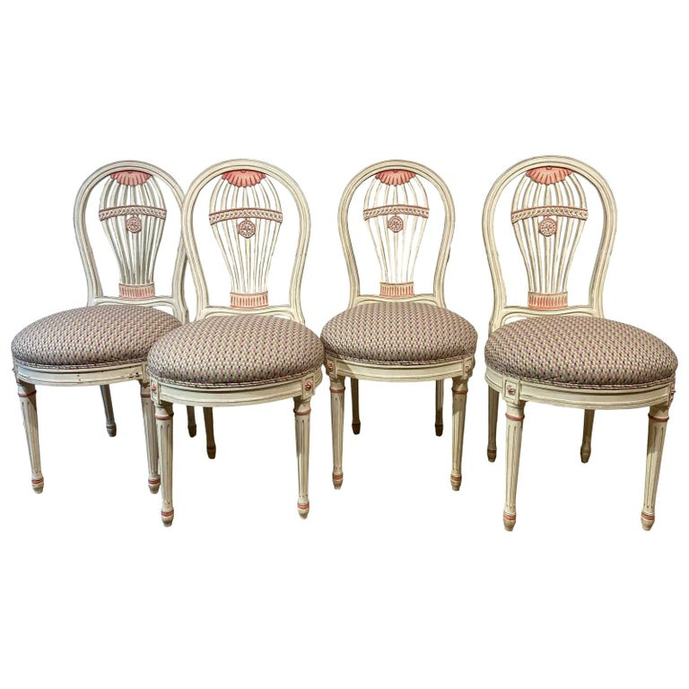 Set of Four Maison Jansen Style Balloon Back Chairs For Sale
