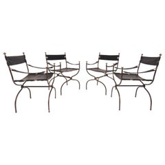 Set of Four Maison Jansen Style Campaign Chairs, circa 1960s