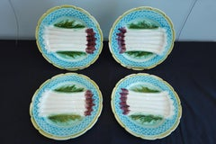 Set of Four Majolica Asparagus Plates Attributed to Orchies