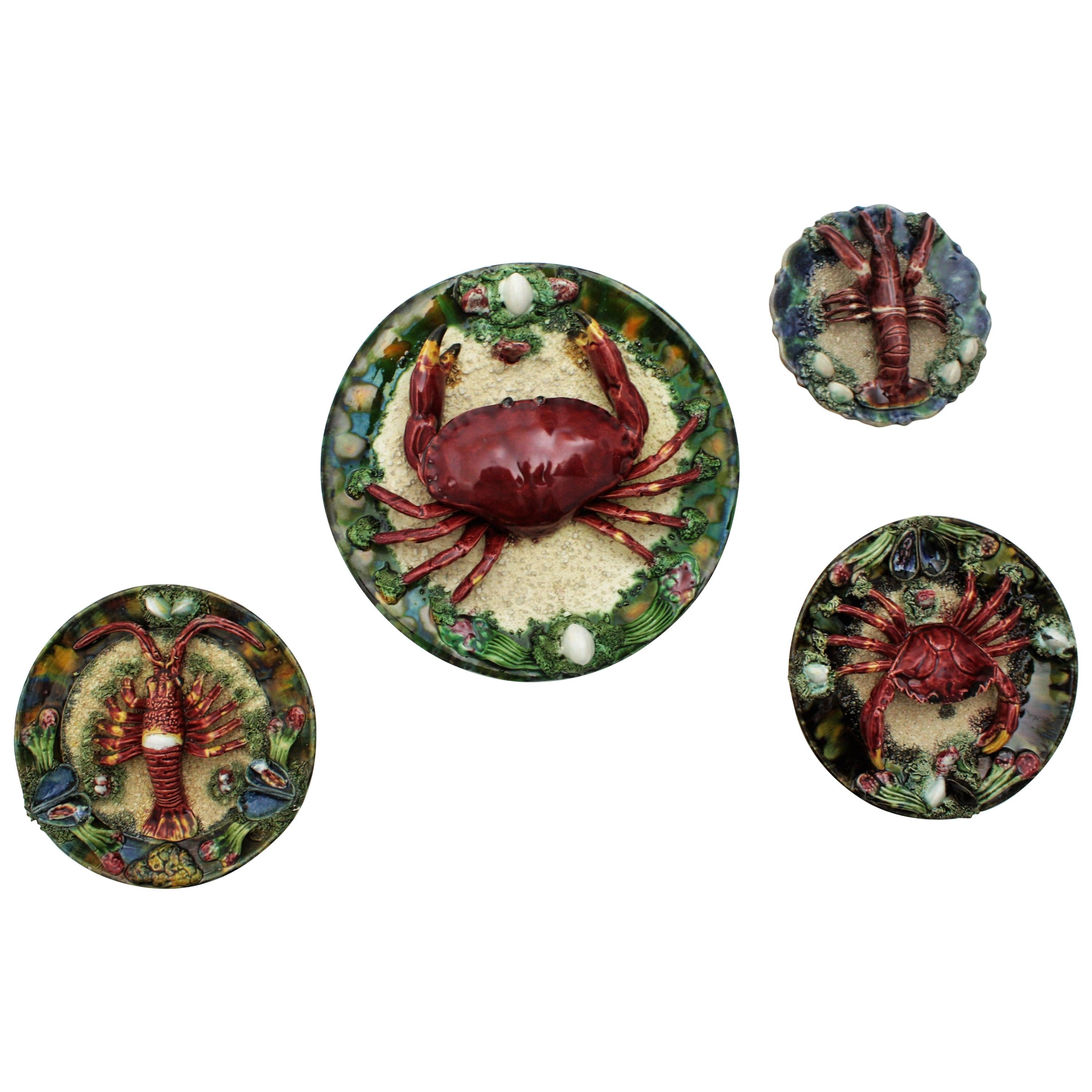 Majolica Trompe L'oeil Seafood Plates Wall Composition, Portugal, 1950s