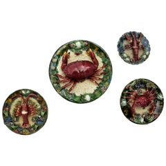 Set of Four Majolica Ceramic Trompe L'oeil Seafood Plates Wall Decoration