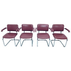 Set of Four Marcel Breuer Cesca Chrome Dining Chairs in Pink Naugahyde, 1970s