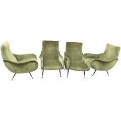 Set of four Marco Zanuso style armchairs for Arteflex, mid-century,Italian style