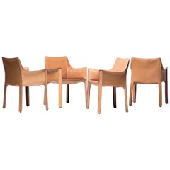 Set of Four Mario Bellini Natural Leather Cab Armchairs for Cassina