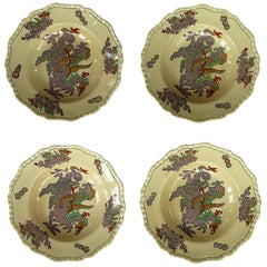 Set of Four Masons Ironstone Bowls in Chinese Dragon Pattern, circa 1900