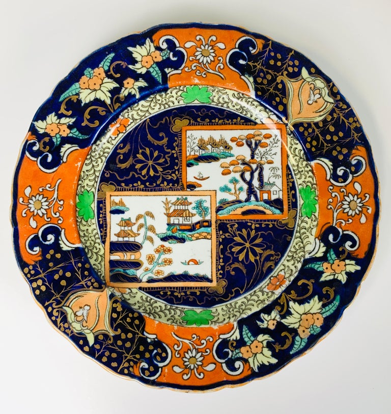 English Set of Four Mason's Ironstone Plates in Chinoiserie Style Made England 1834-1842 For Sale