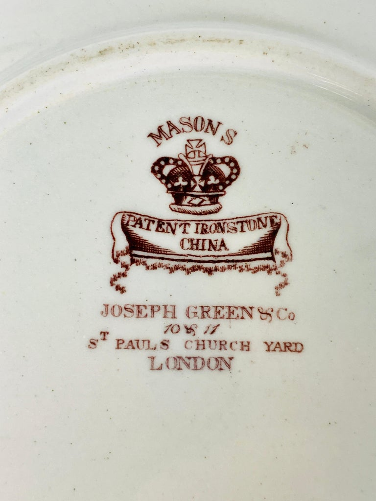 Set of Four Mason's Ironstone Plates in Chinoiserie Style Made England 1834-1842 For Sale 2