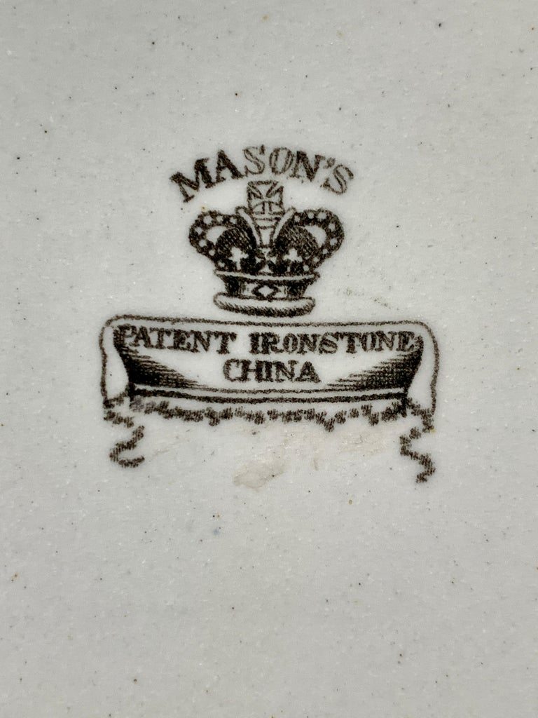Set of Four Mason's Ironstone Plates in Chinoiserie Style Made England 1834-1842 For Sale 3